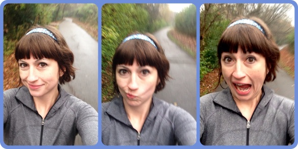 goofy faces while walking the mo run