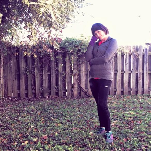 Shoes: Pearl Izumi; Socks: Injinji; Tights: New Balance; Sports Bra: Brooks; Shirt: Nike; Half-zip: Lululemon; Gloves: Mizuno;  Headband: Lululemon