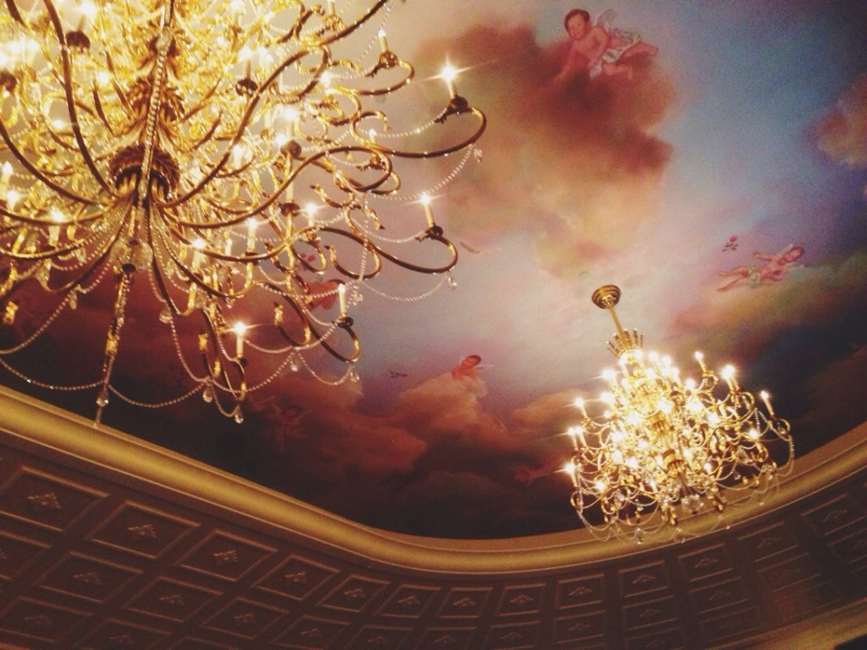 The ceiling at the new Be Our Guest restaurant in new Fantasyland