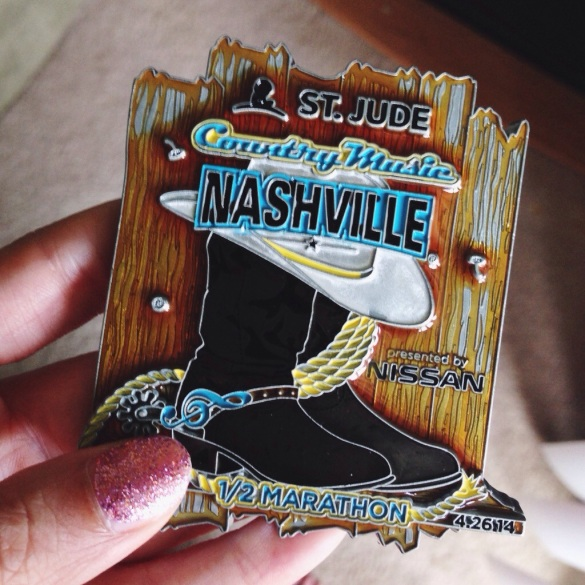 medal from the country music half marathon