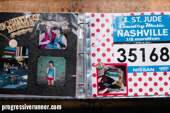 scrapbook of race bibs