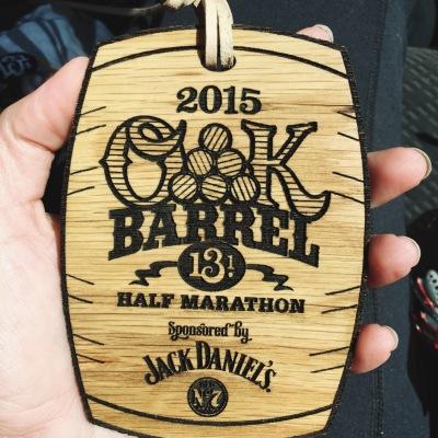 oak barrel half marathon medal